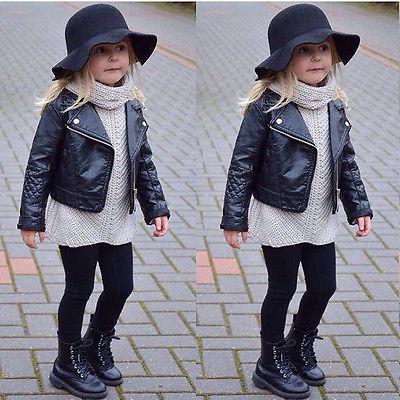 Moda Niño Niños de La Muchacha Ropa de La Motocicleta de LA PU Chaqueta de Motorista de Cuero Abrigo Negro Otoño Invierno de Manga Larga Outwear