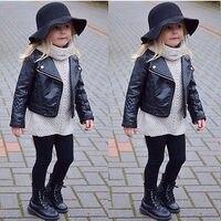 Moda Yürümeye Başlayan Çocuklar Kız Giysileri Motosiklet PU Deri Ceket Biker Ceket Palto Siyah Kış Sonbahar Uzun Kollu Dış Giyim