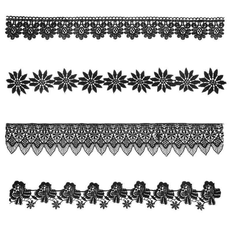 1 Yard Black Flower Pattern Embroidery Lace Applique Trim Wedding Bridal Dress DIY Sewing Clothing Decoration Accessories
