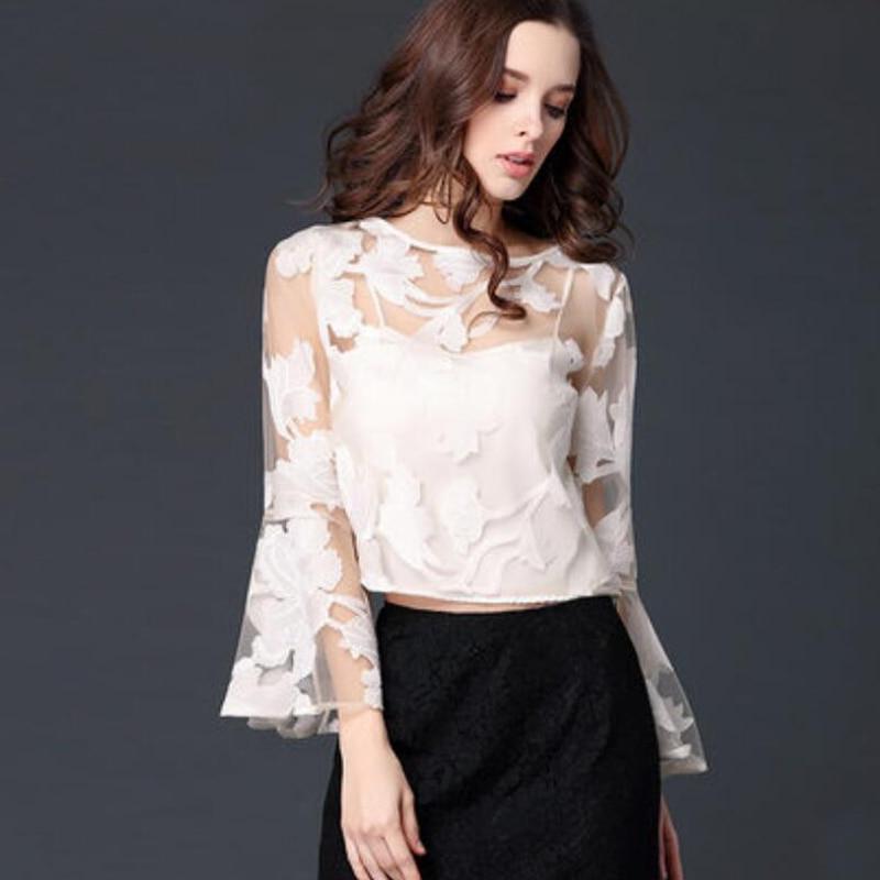 2018 Female Lace Blouse Shirts White Spring Summer Women blouse Round Neck Elegant Flare Sleeve Ladies shirt Girl's Tops