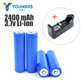 Hot 4Pcs/lot+Lithium battery charger  3.7V 18650 2400mAh Li-ion Rechargeable Battery 18650 Lithium Batteries