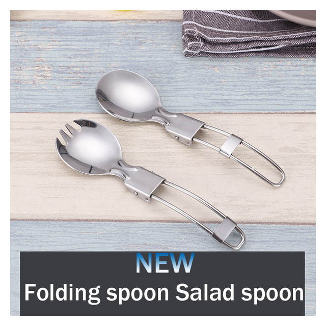 2 Style Outdoor Camping stainless steel Lightweight Spoon Fork Picnic Portable Climbing Trip Travel Folding Spork Cookware