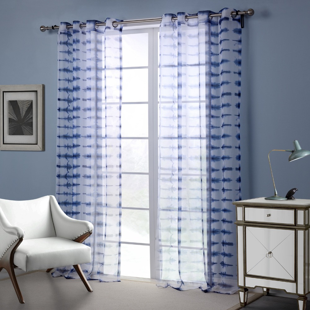 Modern Style Curtains Living Room Blue White Modern Style Curtain Window Curtains For Living Room