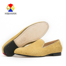 2017 new Yellow Floral suede men handmade shoes with Genuine leather bottom and insole Party and Prom men loafers male's flats
