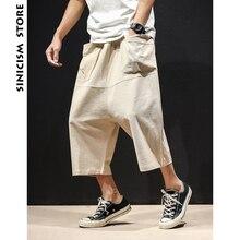Sinicism Store Лето 5XL широкие шаровары мужские широкие ноги мешковатые брюки мужские повседневные брюки с большим карманом из хлопка и льна