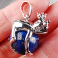 Free Shipping Beautiful jewelry Natural Lapis Lazuli Frog Ball Round Women Men Pendant Bead  PC3709