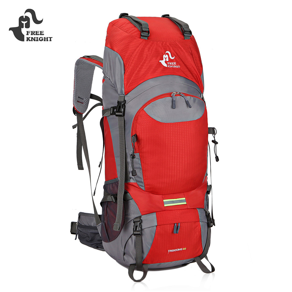 FREE KNIGHT 0399 60L Unisex Water Resistant Large Backpack For Climbing Hiking Mountaineering