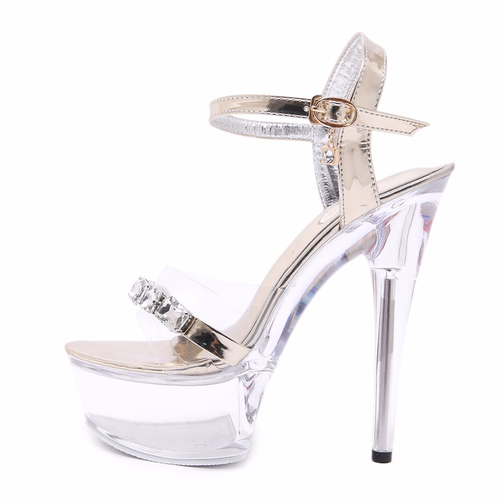 Shoes Women Crystal Sandals 2019 Sexy High Heel 15CM Fine With Waterproof Table Transparent Crystal Shoes Wedding Shoes Banquet