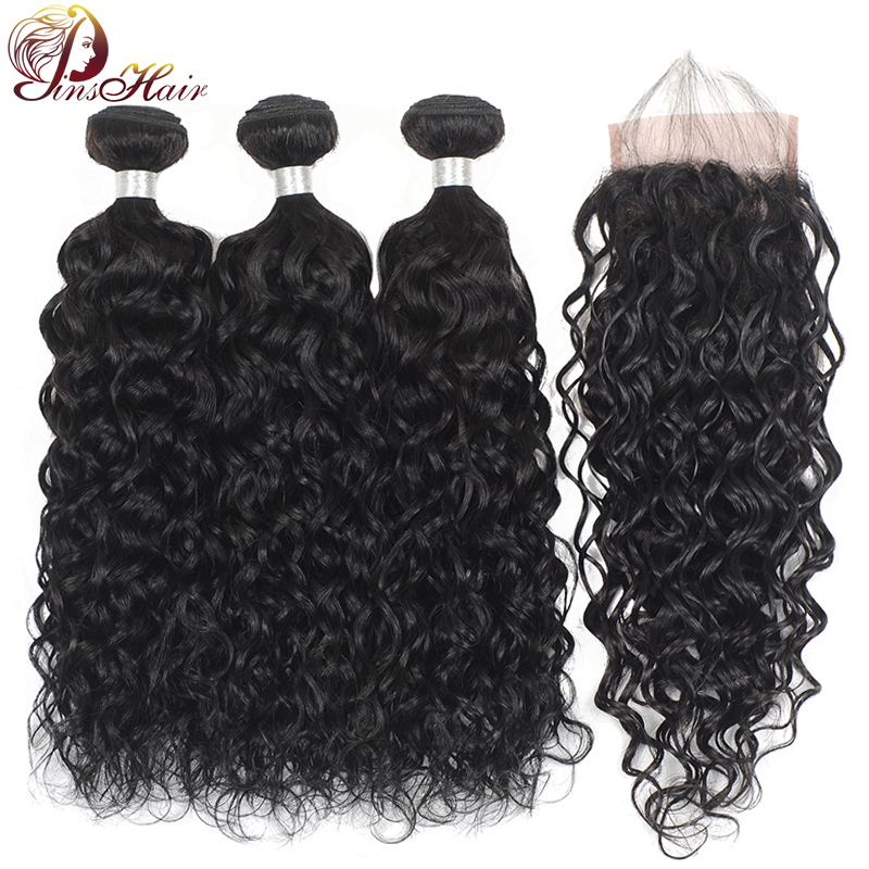 Pinshair 100 Brazilian Human Hair Weave Bundles With Closure Natural Color Water Wave Bundles With Closure Non-Remy Hair Bundles