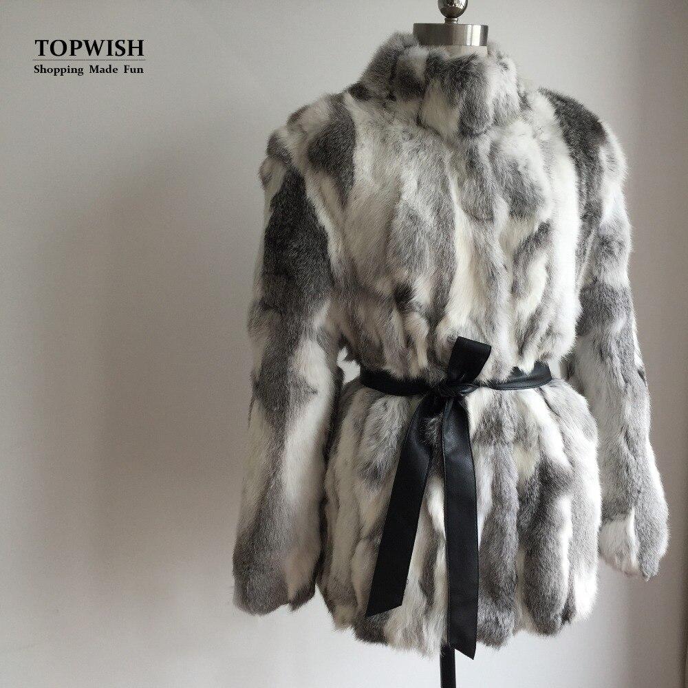 Nature Rabbit Fur Standard Collar Coat Women Fashion O neck custom big size wholesale retial Real Fur Coat TAH686