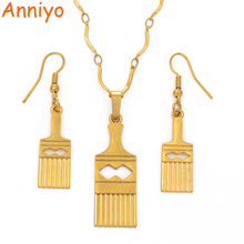 Anniyo Silver/Gold Color PNG Pendant Necklace Earrings for Women/Girls,Papua New Guinea Ethnic Jewelry Bangbang Comb #105706
