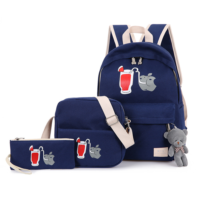 women canvas backpack fashion cute travel bags casual printing backpack 2pcs/set schoolbags laptop backpacks for teenage girls