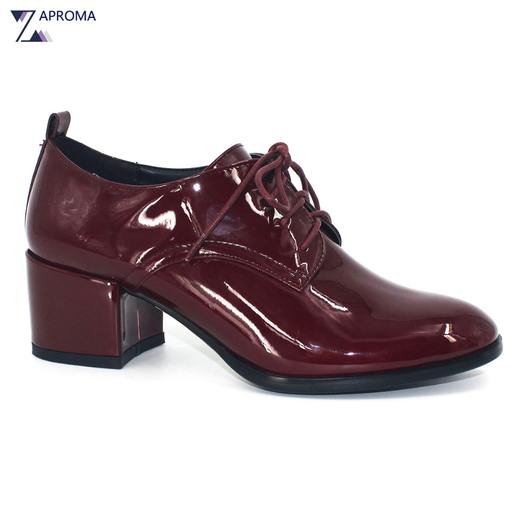 Spring Autumn 2018 Women Casual Shoes Wine Red Patent Leather Neutral Thick Heel Med Heels Basic Lace Up Pumps Bling Fashion siketu free shipping spring and autumn high heels shoes career sex women shoes wedding shoes patent leather style pumps g017