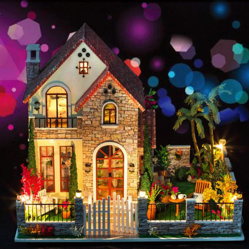 Home Decoration Crafts DIY Doll House large Wooden Dolls House 3D Miniature Model Kit  dollhouse Furniture Room LED Light k007 diy wooden handcraft miniature provence dollhouse voice activated led light