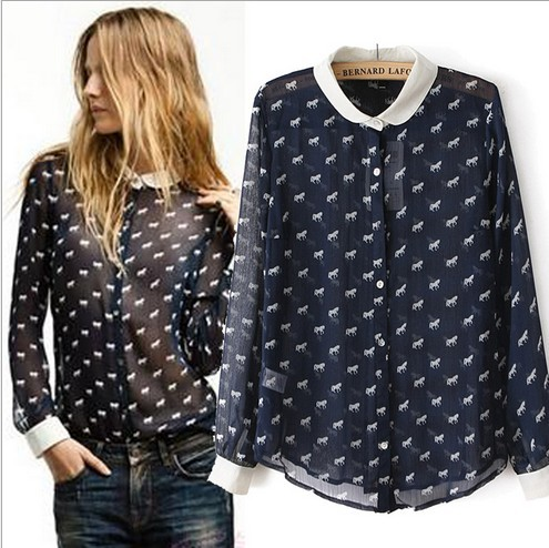 a8fe4a93fe44f 2014 New Brand Animal Print Chiffon Shirts For Women Horse Pattern  Translucent Sexy Long Sleeve Dressy Blouse Free Shipping