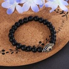 HOBBORN Trendy Matte Bead Yoga Women Bracelet 8mm Natural Black Onyx Handmade Strand Amulet Evil Eyes Healing Men Bracelets Cruz