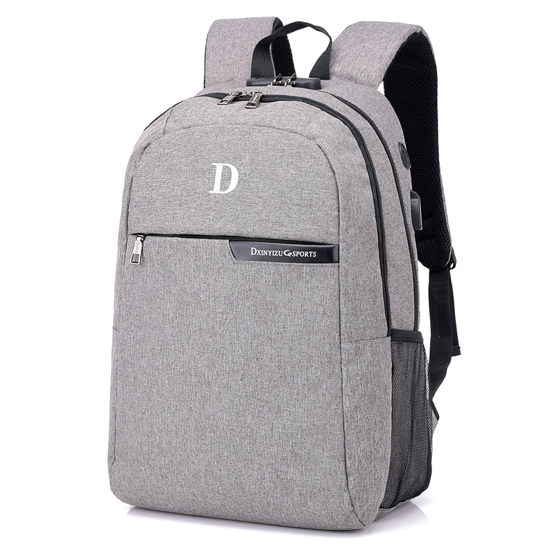 New 15.6 Inch Laptop Polyester Backpack Multi Function Men Women Notebook Computer Backpack Daypack Big Shoulder School Bag Grey