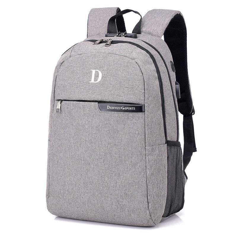New 15.6 Inch Laptop Polyester Backpack Multi Function Men Women Notebook Computer Backpack Daypack Big Shoulder School Bag Grey