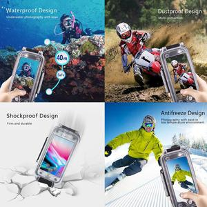 Image 5 - PULUZ 40M الغوص للماء حقيبة لهاتف أي فون 7 8 7P 8P XR XS ماكس الإسكان غطاء قذيفة صور فيديو أخذ تحت الماء الرياضات المائية