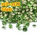 Peridot~1440pcs/pack SS3~SS12 Round Crystal loose pointback rhinestone,Glass glue on nail art rhinestones