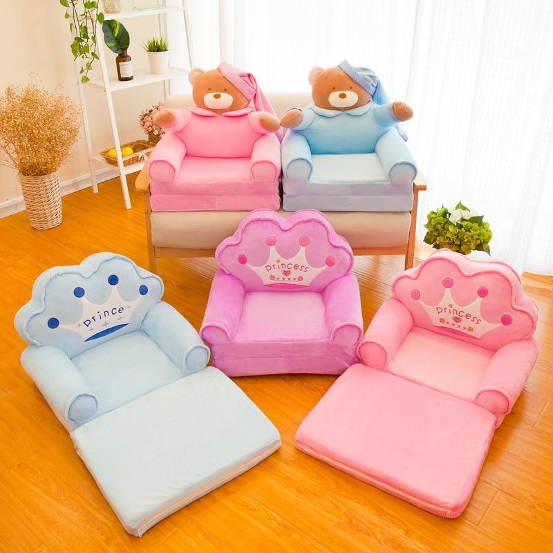 New Cute Children Sofa Cartoon Folding Sofa Lazy Person Lying Seat Kindergarten Baby Stool Washable Sofa  Xmas Birthday Gift