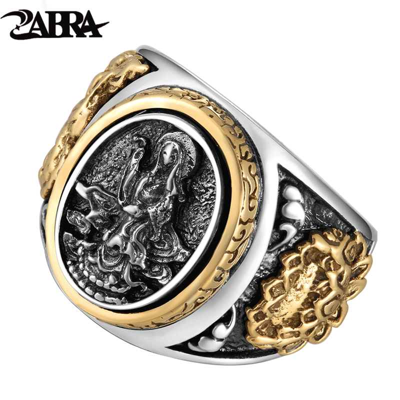 ZABRA Vintage Buddhism Goddess 925 Silver Dragon Male Ring Guld Retro Svart Male Silver Ring Sterling Biker Man Ringar Smycken
