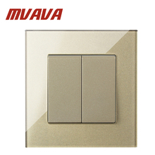 MVAVA Luxury 2 Gang 1 Way Intermediate High-End Crystal Glass 110-250V Push Button Switch Champagne Light Switch Free Shipping 4 gang 2 way switch button wallpad 110 250v white crystal glass power push button double control switches free shipping
