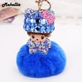 Monchichi keychain 8cm real rabbit fur pom pom 11color cute Crystal Monchichi Dolls pompom Key chain Women bag car charm pendant