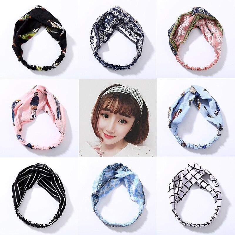 LNRRABC Women Striped Hair Band Girls Turban Chiffon Cotton Stretchy Hot Sale Cross Bowknot Hair Accessories   Headwear