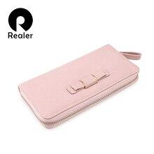 REALER small women wallet casual long purse zipper wallet fe