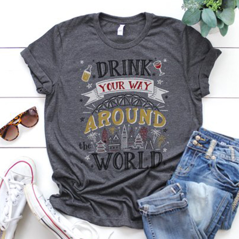 keep drink your way around the world shirt women t-shirts tee top womens sexy female tshirt happy tops sexy tee blessed image