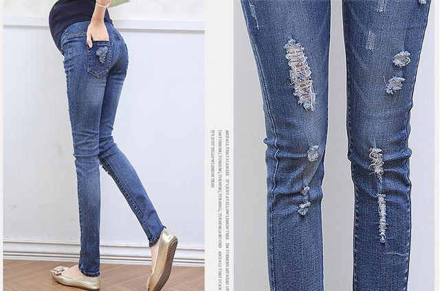2016 Autumn maternity jeans trousers prop belly pants feet hole stretch pencil pants casual pants for pregnant women