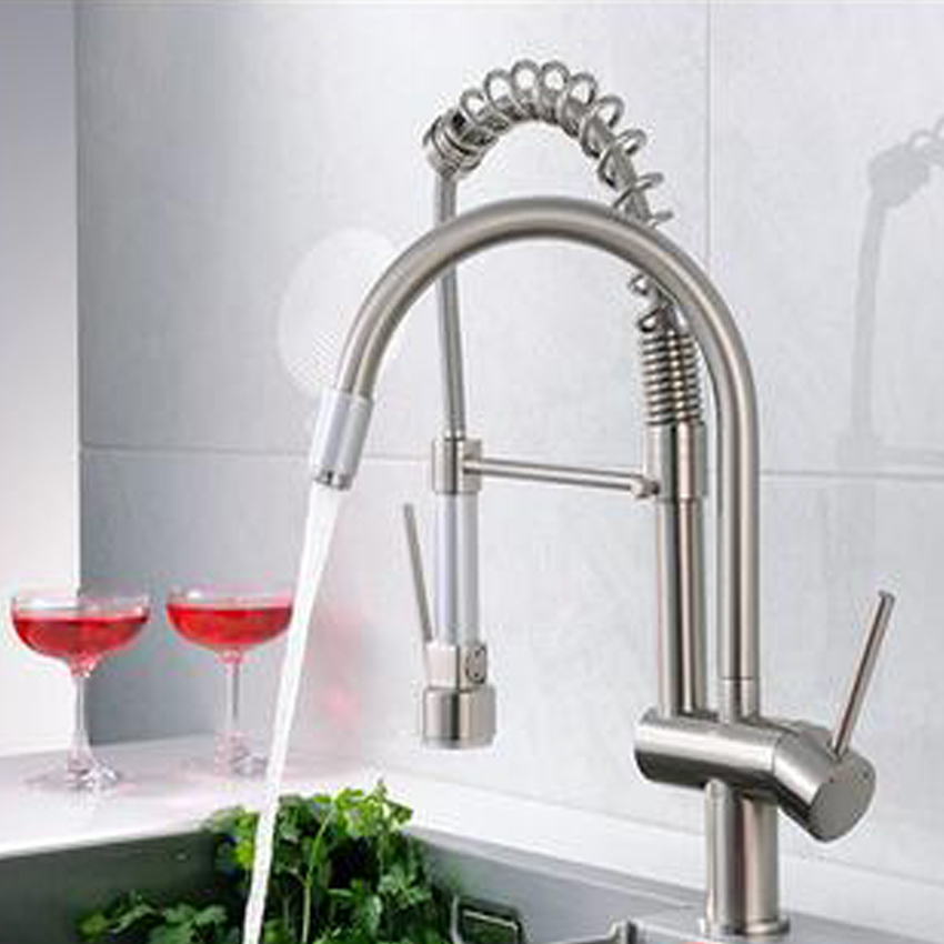 1PC High quality Dual Spout Kitchen Sink Faucet Deck Mount Spring Kitchen Mixer Tap Kitchen Hot and Cold Water tap chrome finish dual spout kitchen sink faucet deck mount spring kitchen mixer tap kitchen hot and cold water tap