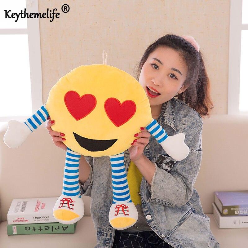 Keythemelife 1 PC Creative Emoji Pillow Cushion Cartoon Facial Emoticon Toy Doll Sofa Cushion Home Decor For Kids Gift CA