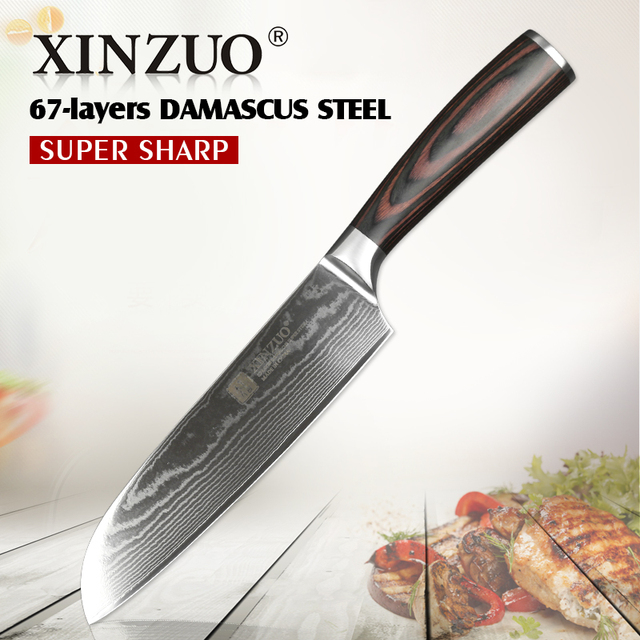 XINZUO 7'' inch Santoku Knife Japan 67 Layer Damascus Steel VG10 Kitchen Knives Master Chef Kitchen Tools with Pakkawood Handle