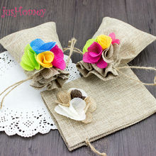 jusHomey 24pcs 10x15cm Rustic Drawstring Burlap Gift Bags Dyed Jute Flower Wedding Favor Pouch,Party Gift Sachet, Wedding Supply
