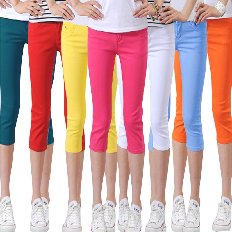 2019 Fashion New Summer Candy Color Thin 3/4 Length Lady Pencil Pants Thin Length Lady Leggin High Elastic Pencil Pant Female