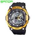 New SANDA Homens Moda Casual Relógios Dupla de Exibição LED Esporte Militar Assista Analógico Quartz Digital Watch Relogio masculino