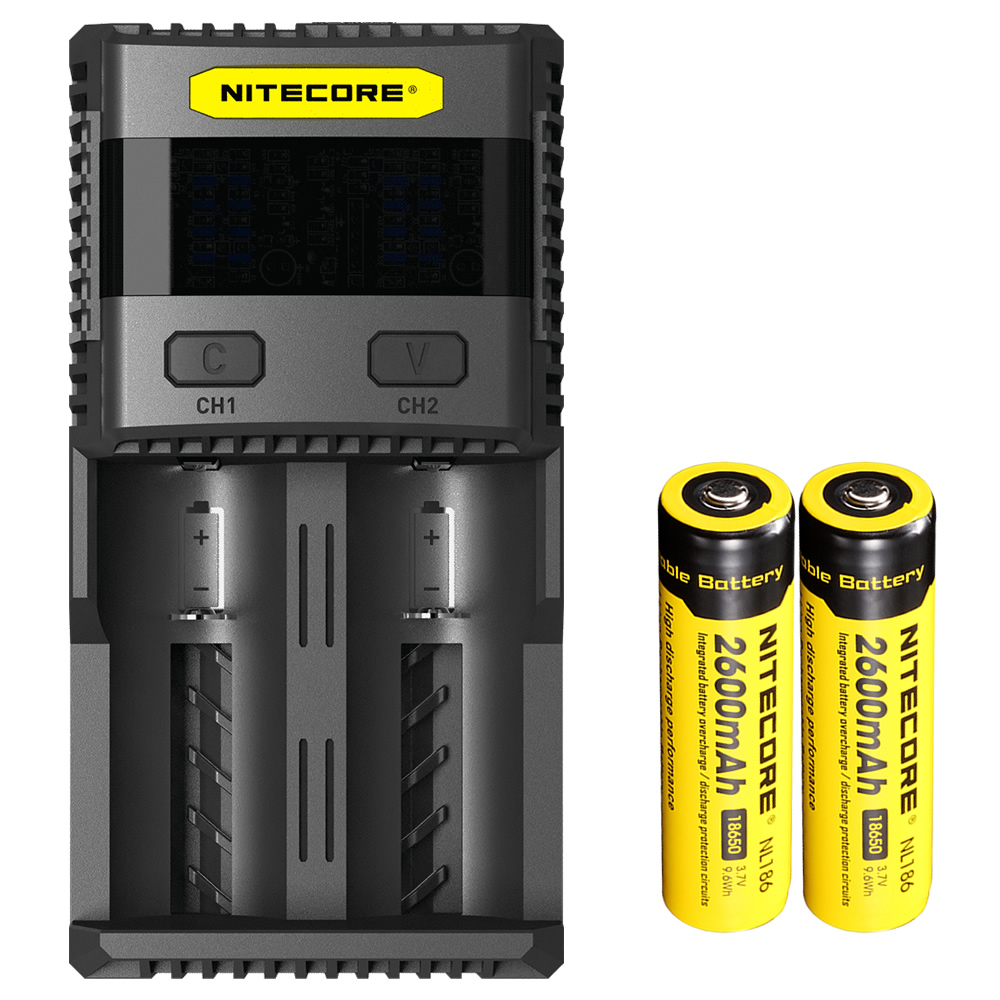 NEW NITECORE SC2 Intelligent Charging Superb Battery Charger with 3A Total Output + 2x2600mAh 18650 Li-on Rechargeable Batteries qi wireless charger charging receiver transparent cover