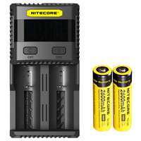 NEW NITECORE SC2 Intelligent Charging Superb Battery Charger with 3A Total Output + 2x2600mAh 18650 Li on Rechargeable Batteries