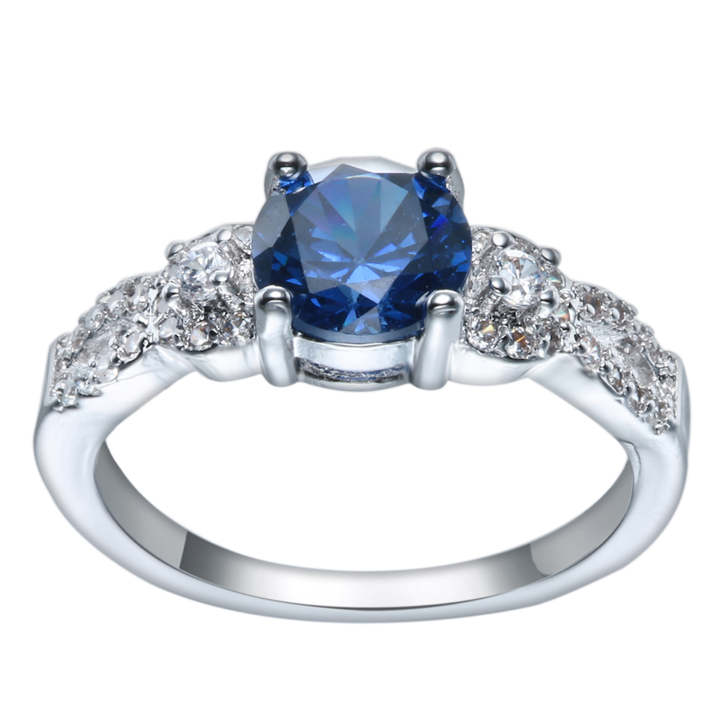 Luxury the new royal blue love Cross White CZ zircon Wedding Ring silver plated Blue Crystal Jewelry Finger Ring