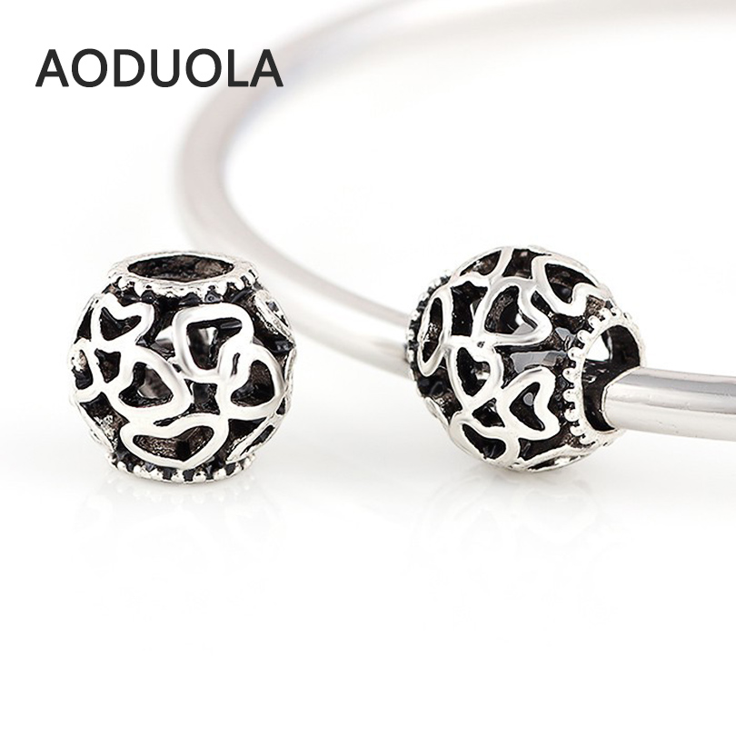 10 Pcs a Lot Silver Alloy Beads Round Hollow DIY Big Hole Metal Beads Spacer Murano Bead Charm Fit For Pandora Charms Bracelet