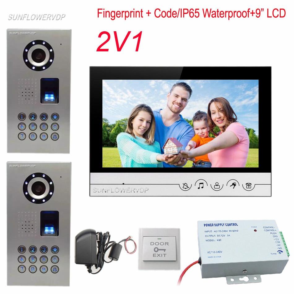 Home Phone IP65 Waterproof Fingerprint Code Doorbell Camera With 9