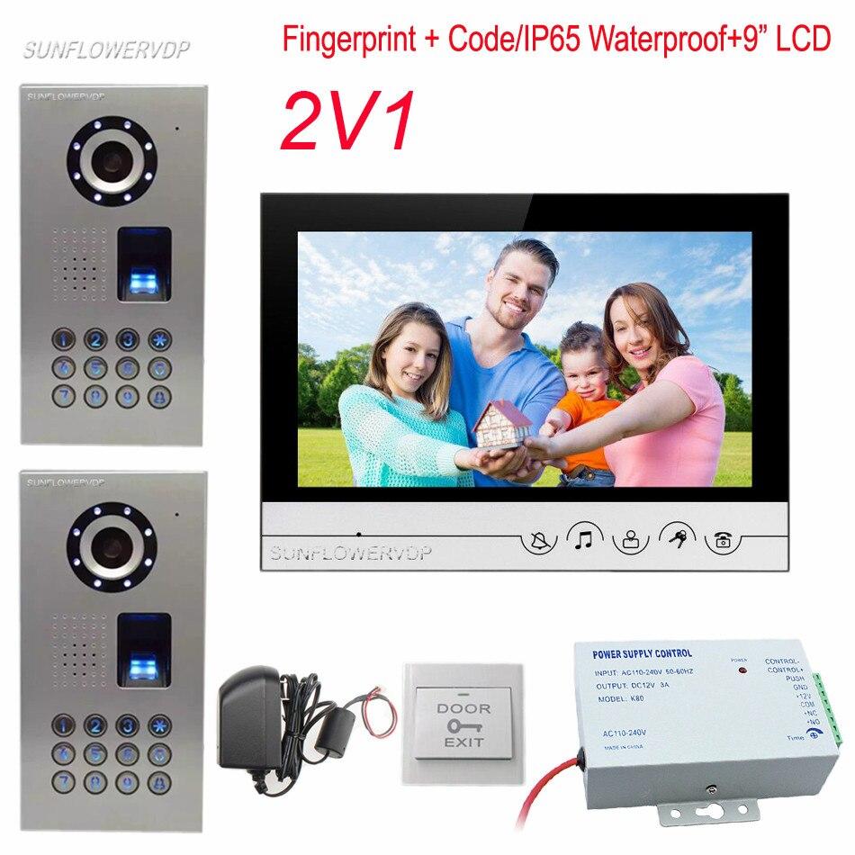 Telefono di casa IP65 Impermeabile Fingerprint Codice Campanello Della Macchina Fotografica Con 9