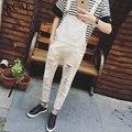 2016 Marca para Hombre Overol de Mezclilla Babero Moda Skinny Jeans Suspender Pantalones Trajes Para Hombres Agujero Delgado negro y blanco M-XXL