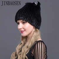 JINBAOSEN 2019 Russian ski hat mink fur cap mink fox combined with fur knitted wool set winter ladies fur fashion hat