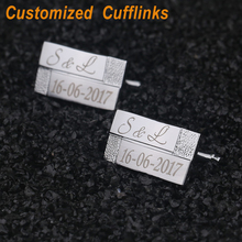 ФОТО customized  wedding gift  cuff links laser engraved classic   for men