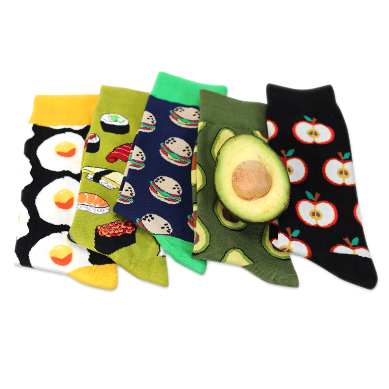 Avocado Sushi Omelette Burger Apple Plant Fruit Food Socks Short Funny Cotton Socks Women Winter Men Unisex Happy Socks Female #4