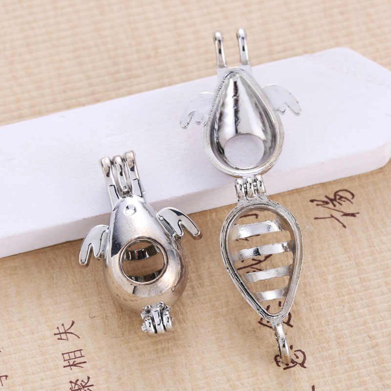 6pcs Bright Silver Angel ไข่ Hollow ออกแบบเครื่องประดับทำอุปกรณ์อลูมิเนียมอินเทรนด์ Pearl CAGE จี้น้ำมันหอมระเหย Diffuser