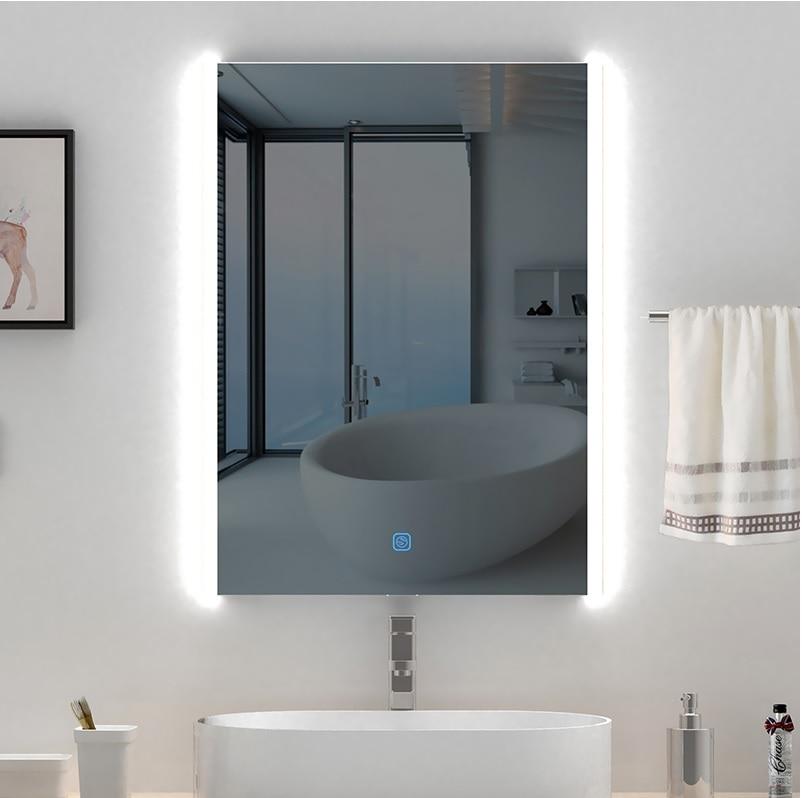 800x600mm LED miroir/salle de bain désembueur miroir/emplacement humide/220 V LED miroir éclairé/futuriste Chic brillant